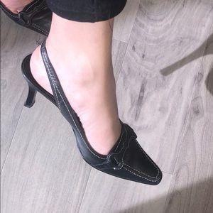 Black Leather ALFANI Heels, Size 5.5